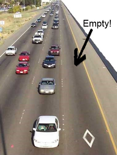 empty car-pool lane